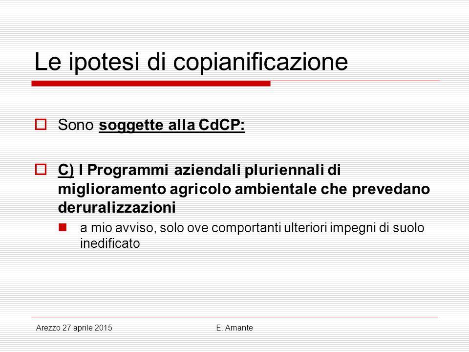 Le ipotesi di copianificazione  Sono soggette alla CdCP:  C) I Programmi aziendali pluriennali di miglioramento agricolo ambientale che prevedano de