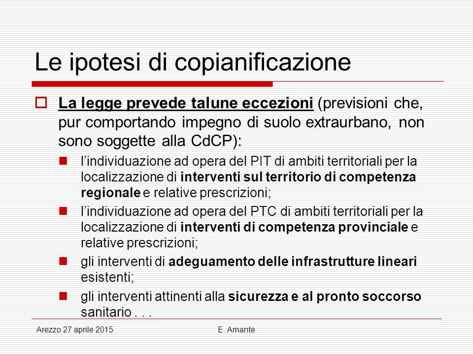 Le ipotesi di copianificazione  La legge prevede talune eccezioni (previsioni che, pur comportando impegno di suolo extraurbano, non sono soggette al