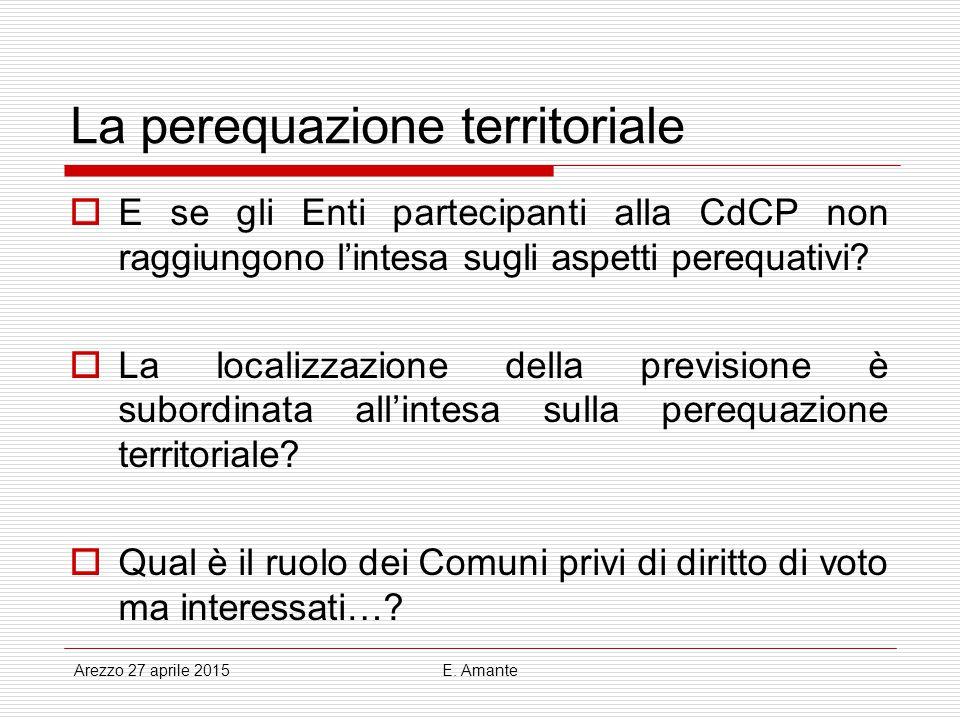 La perequazione territoriale  E se gli Enti partecipanti alla CdCP non raggiungono l'intesa sugli aspetti perequativi?  La localizzazione della prev