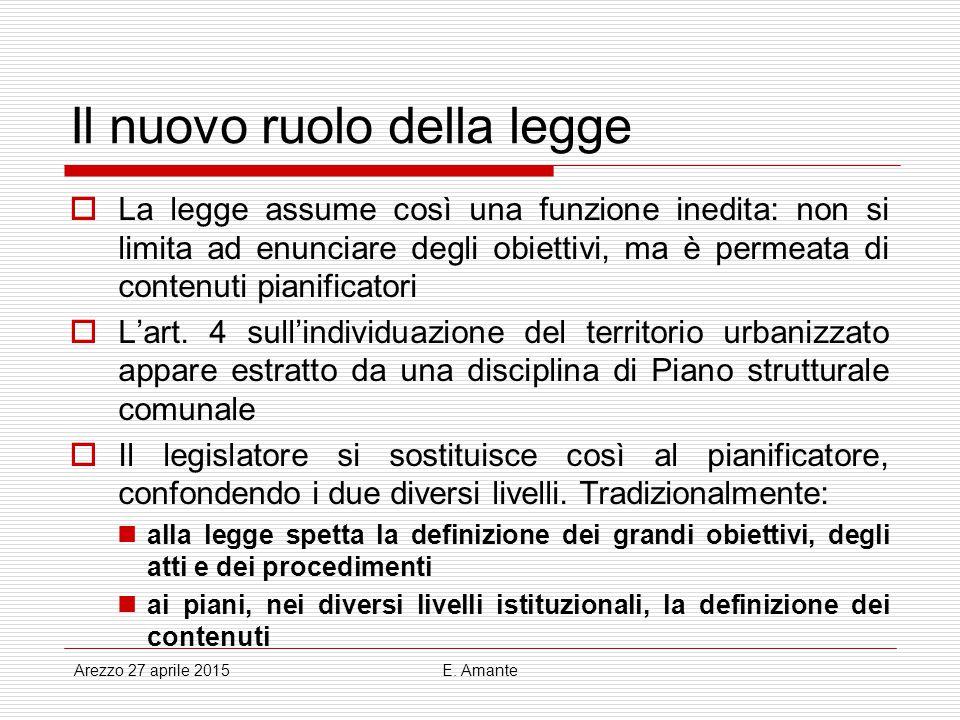 Il nuovo ruolo della legge  La legge assume così una funzione inedita: non si limita ad enunciare degli obiettivi, ma è permeata di contenuti pianifi