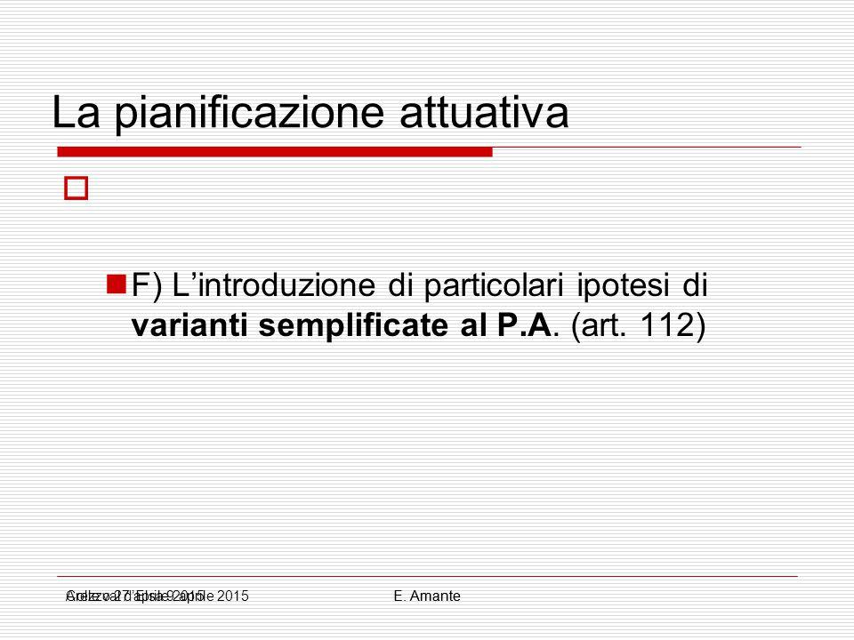 La pianificazione attuativa  F) L'introduzione di particolari ipotesi di varianti semplificate al P.A. (art. 112) Colle val d'Elsa 9 aprile 2015E. Am