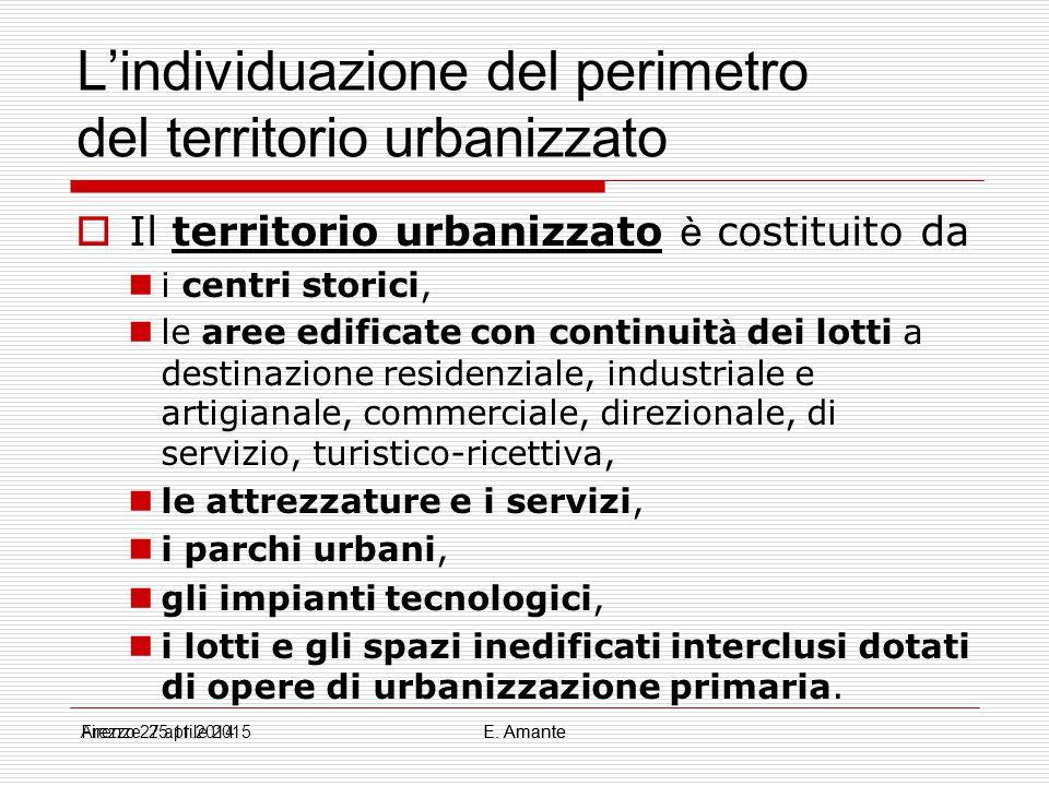 L'individuazione del perimetro del territorio urbanizzato  Quindi, il perimetro: è stabilito ex lege e solamente declinato dal piano strutturale; rappresenta una fotografia dell ' esistente (salva la rigenerazione e l ' ERP) non è un progetto Firenze 25.11.2014E.