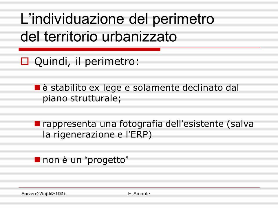 L'individuazione del perimetro del territorio urbanizzato  Quindi, il perimetro: è stabilito ex lege e solamente declinato dal piano strutturale; rap