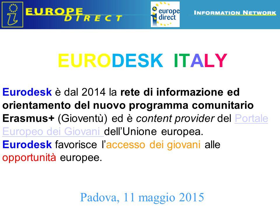 MISSION 2014 – 2020 La mission di Eurodesk Italy è fornire ai giovani, e a tutti coloro che operano con/per loro, strumenti ed attività di informazione, promozione, orientamento e progettazione sui programmi e sulle politiche europee in favore della gioventù .