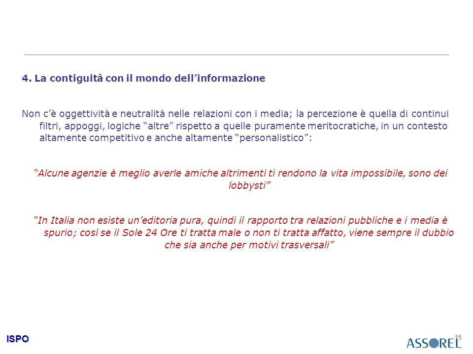 ISPO 15 4. La contiguità con il mondo dell'informazione Non c'è oggettività e neutralità nelle relazioni con i media; la percezione è quella di contin