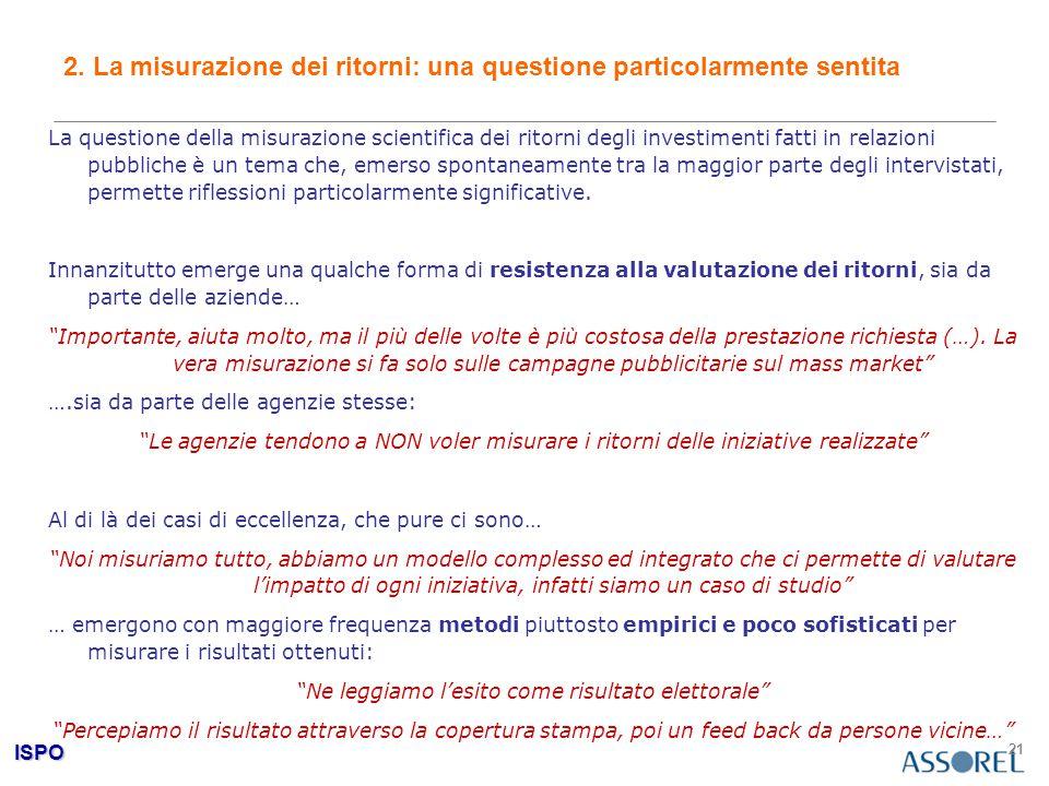 ISPO 21 2. La misurazione dei ritorni: una questione particolarmente sentita La questione della misurazione scientifica dei ritorni degli investimenti