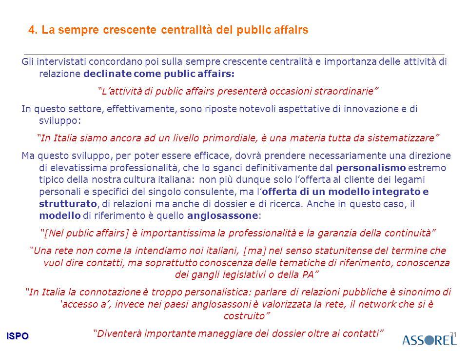 ISPO 31 4. La sempre crescente centralità del public affairs Gli intervistati concordano poi sulla sempre crescente centralità e importanza delle atti