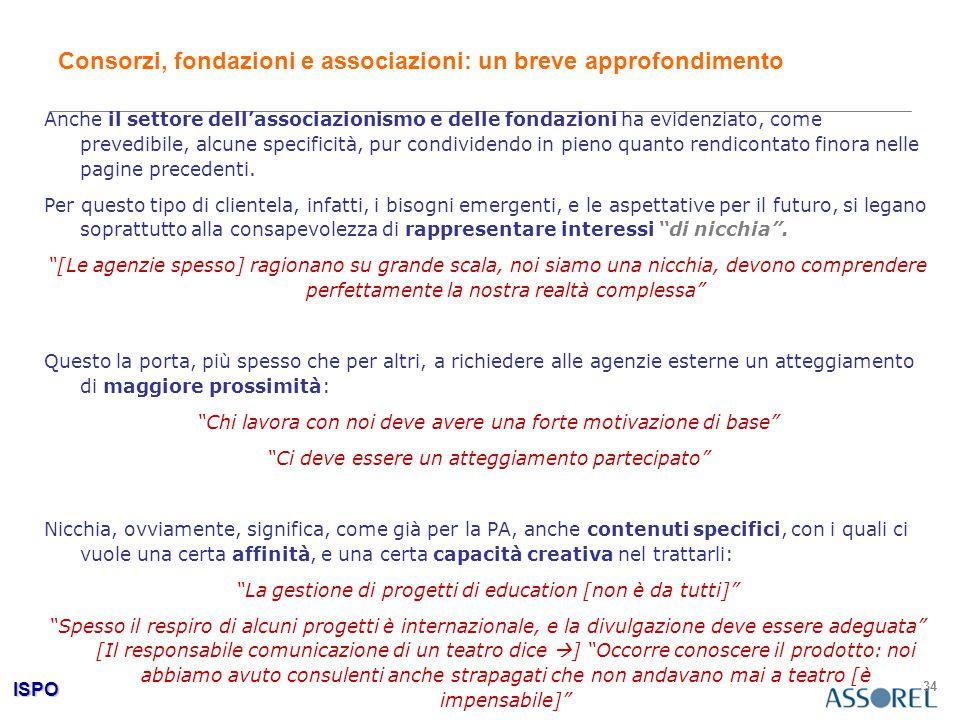ISPO 34 Consorzi, fondazioni e associazioni: un breve approfondimento Anche il settore dell'associazionismo e delle fondazioni ha evidenziato, come pr