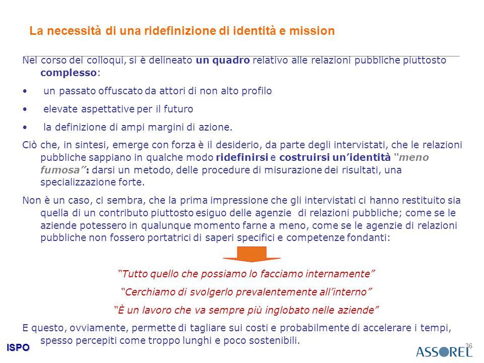 ISPO 36 La necessità di una ridefinizione di identità e mission Nel corso dei colloqui, si è delineato un quadro relativo alle relazioni pubbliche piu