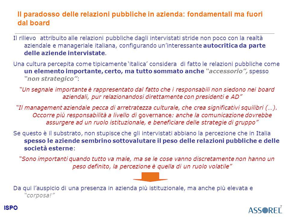 ISPO 7 Il paradosso delle relazioni pubbliche in azienda: fondamentali ma fuori dal board Il rilievo attribuito alle relazioni pubbliche dagli intervi