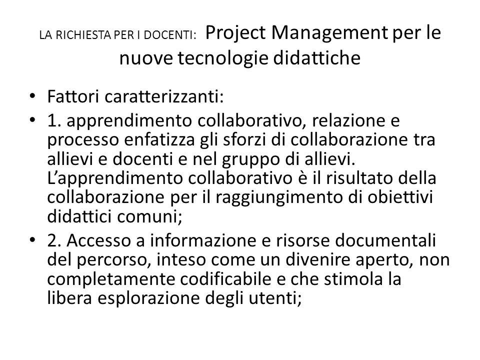 LA RICHIESTA PER I DOCENTI: Project Management per le nuove tecnologie didattiche Fattori caratterizzanti: 1.