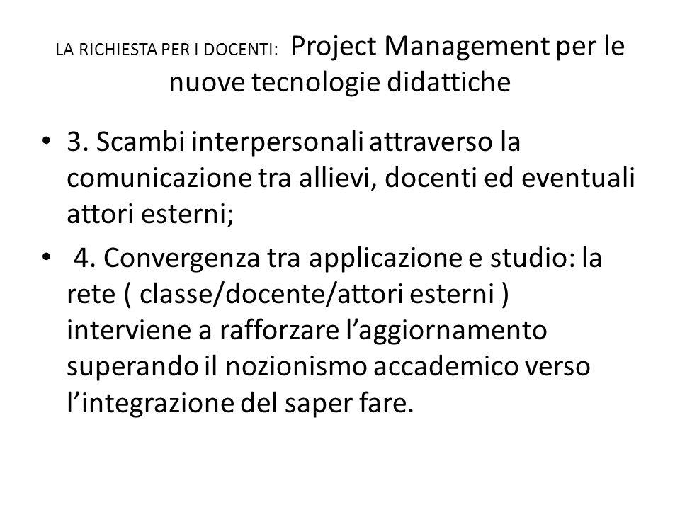 LA RICHIESTA PER I DOCENTI: Project Management per le nuove tecnologie didattiche 3.