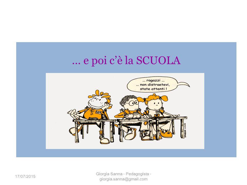 … e poi c'è la SCUOLA 17/07/2015 Giorgia Sanna - Pedagogista - giorgia.sanna@gmail.com