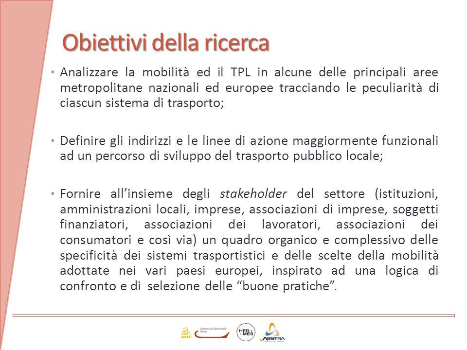 Obiettivi della ricerca Analizzare la mobilità ed il TPL in alcune delle principali aree metropolitane nazionali ed europee tracciando le peculiarità