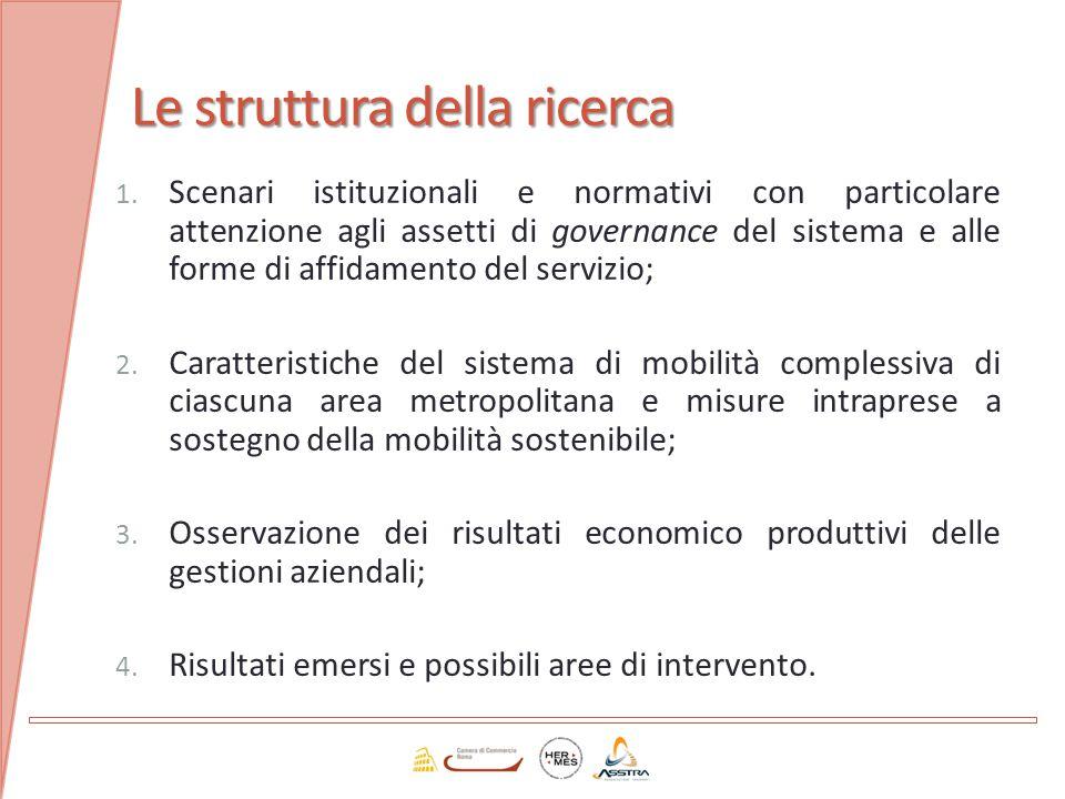 Le struttura della ricerca 1. Scenari istituzionali e normativi con particolare attenzione agli assetti di governance del sistema e alle forme di affi
