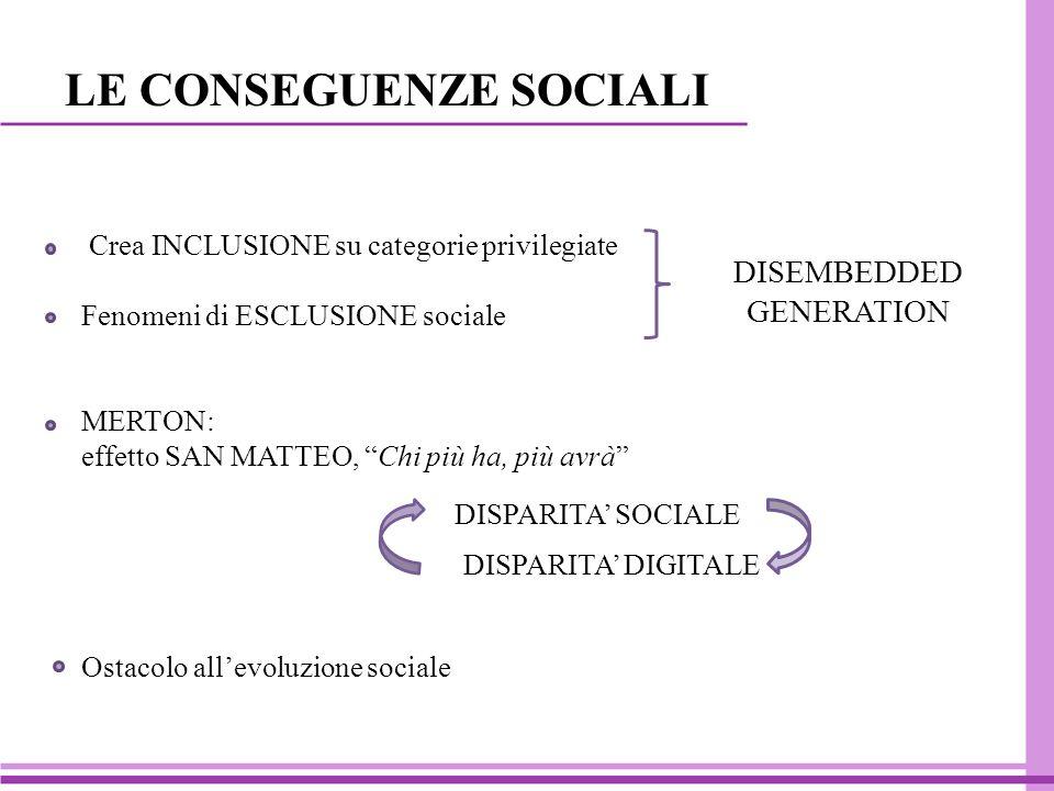 LE CONSEGUENZE SOCIALI Crea INCLUSIONE su categorie privilegiate Fenomeni di ESCLUSIONE sociale MERTON: effetto SAN MATTEO, Chi più ha, più avrà Ostacolo all'evoluzione sociale DISPARITA' SOCIALE DISPARITA' DIGITALE DISEMBEDDED GENERATION