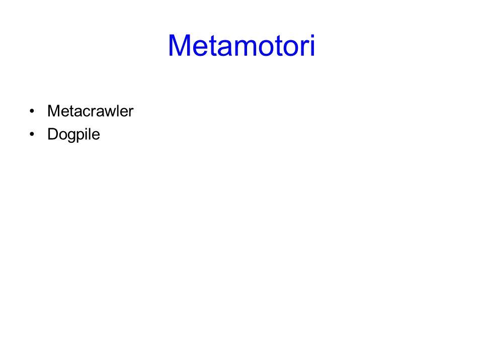 Metacrawler Metacrawler è un importante strumento di metaricerca della rete Lycos, che presenta i risultati in base alla pertinenza, al sito o alla provenienza.