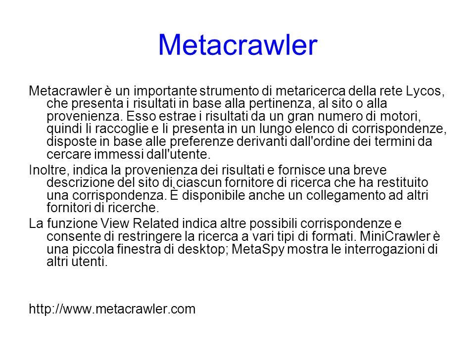 Metacrawler Metacrawler è un importante strumento di metaricerca della rete Lycos, che presenta i risultati in base alla pertinenza, al sito o alla pr