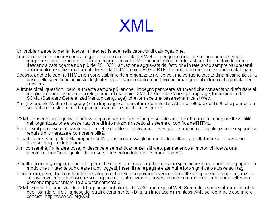XML Un problema aperto per la ricerca in Internet risiede nella capacità di catalogazione. I motori di ricerca non riescono a reggere il ritmo di cres