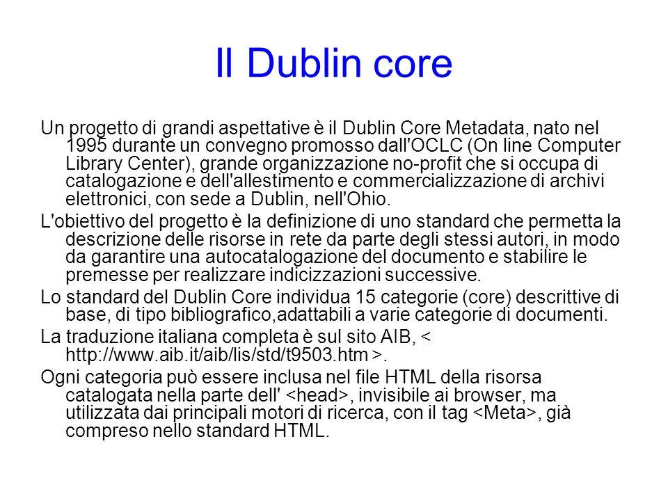 Il Dublin core Un progetto di grandi aspettative è il Dublin Core Metadata, nato nel 1995 durante un convegno promosso dall'OCLC (On line Computer Lib