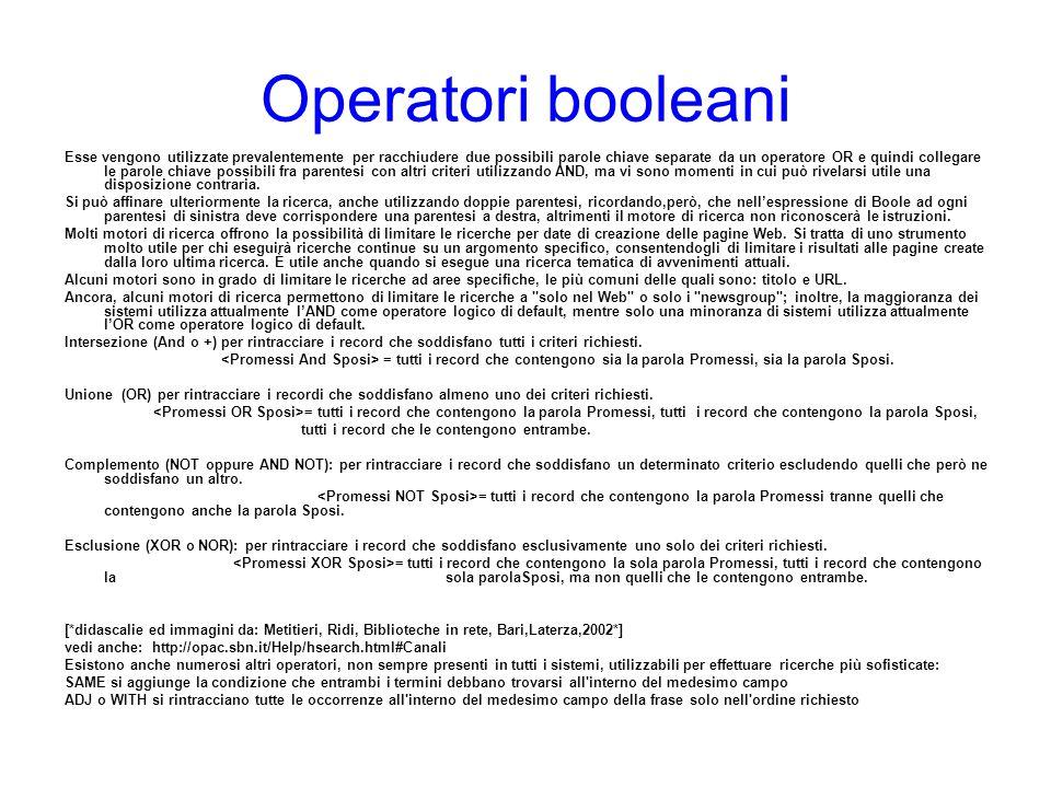 Operatori booleani Esse vengono utilizzate prevalentemente per racchiudere due possibili parole chiave separate da un operatore OR e quindi collegare