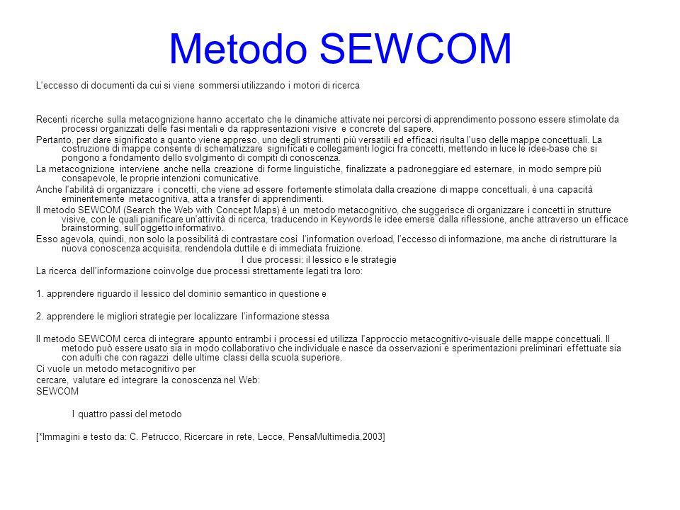 Metodo SEWCOM L'eccesso di documenti da cui si viene sommersi utilizzando i motori di ricerca Recenti ricerche sulla metacognizione hanno accertato ch