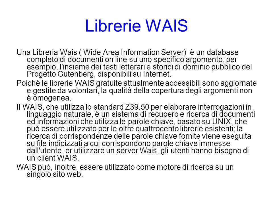 Una Libreria Wais ( Wide Area Information Server) è un database completo di documenti on line su uno specifico argomento; per esempio, l'insieme dei t