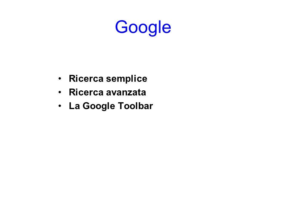 Ricerca semplice La ricerca attraverso Google è possibile in due modalità: la ricerca semplice e quella avanzata.