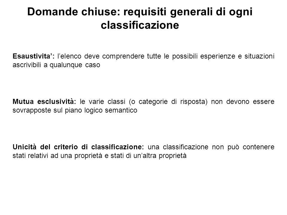 Domande chiuse: requisiti generali di ogni classificazione Esaustivita': l'elenco deve comprendere tutte le possibili esperienze e situazioni ascrivib