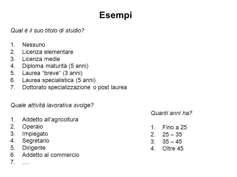"""Esempi Qual è il suo titolo di studio? 1.Nessuno 2.Licenza elementare 3.Licenza medie 4.Diploma maturità (5 anni) 5.Laurea """"breve"""" (3 anni) 6.Laurea s"""