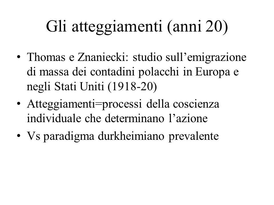 Gli atteggiamenti (anni 20) Thomas e Znaniecki: studio sull'emigrazione di massa dei contadini polacchi in Europa e negli Stati Uniti (1918-20) Attegg