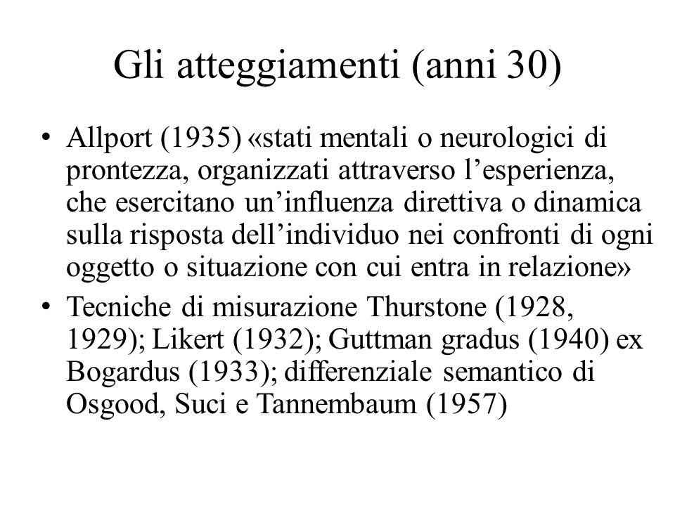 Gli atteggiamenti (anni 30) Allport (1935) «stati mentali o neurologici di prontezza, organizzati attraverso l'esperienza, che esercitano un'influenza