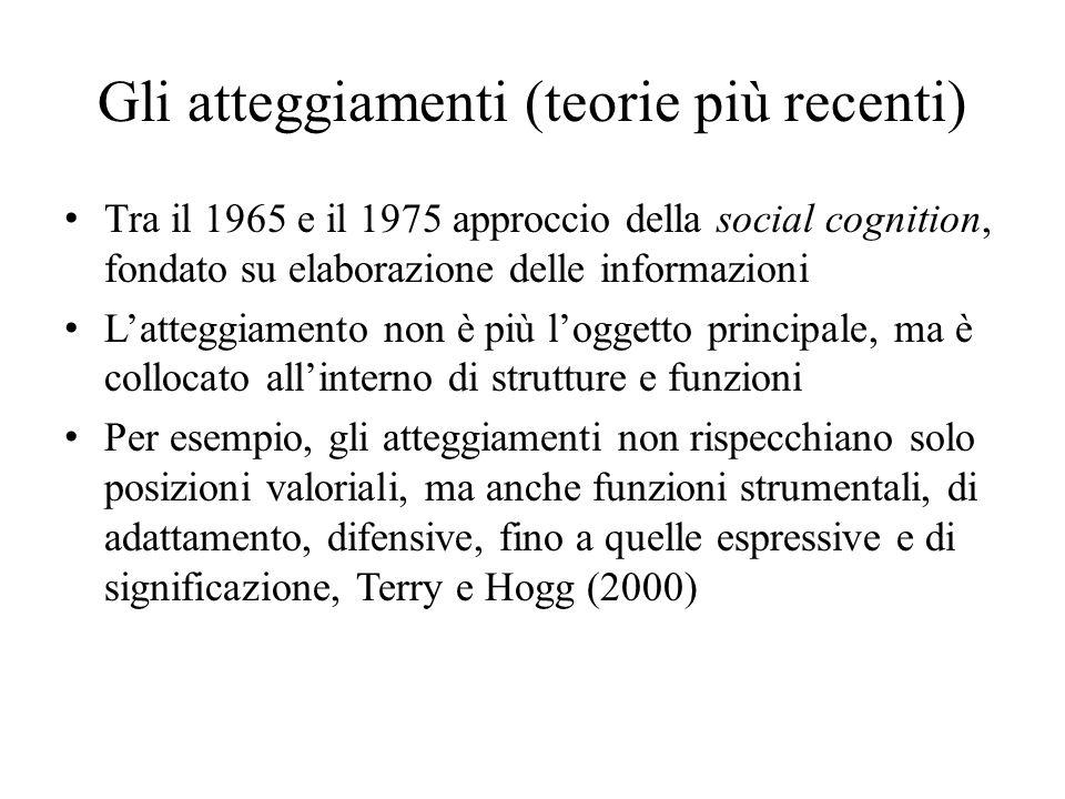 Gli atteggiamenti (teorie più recenti) Tra il 1965 e il 1975 approccio della social cognition, fondato su elaborazione delle informazioni L'atteggiame
