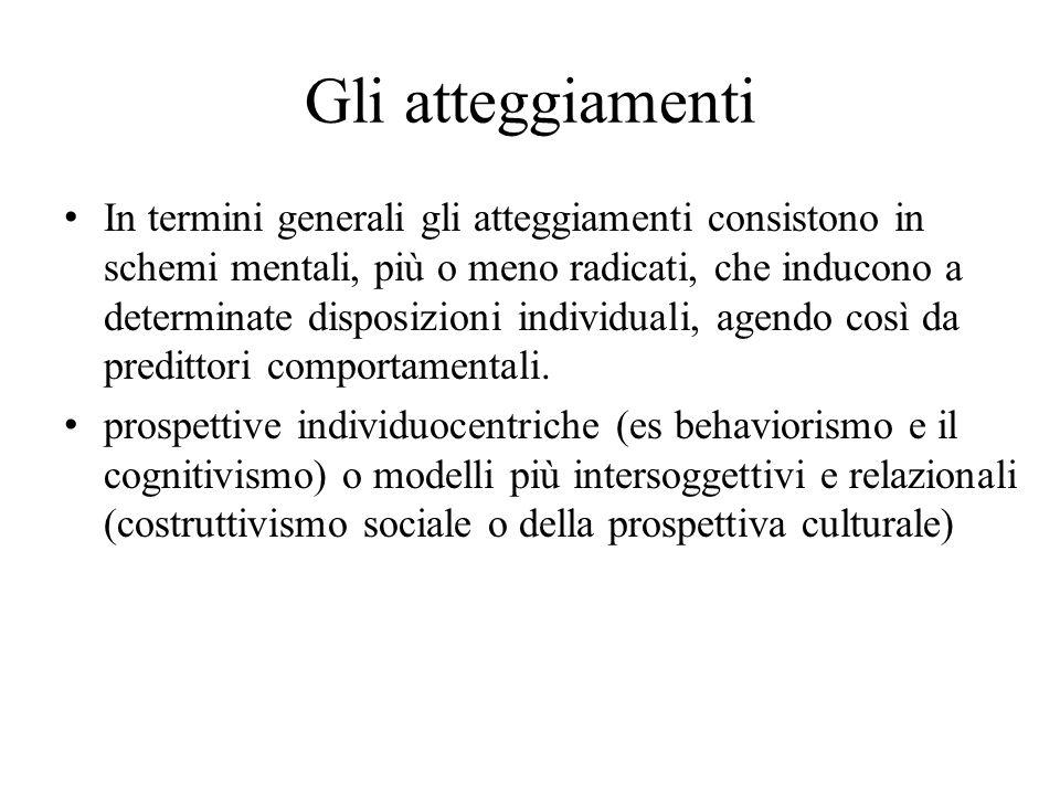 Gli atteggiamenti In termini generali gli atteggiamenti consistono in schemi mentali, più o meno radicati, che inducono a determinate disposizioni ind