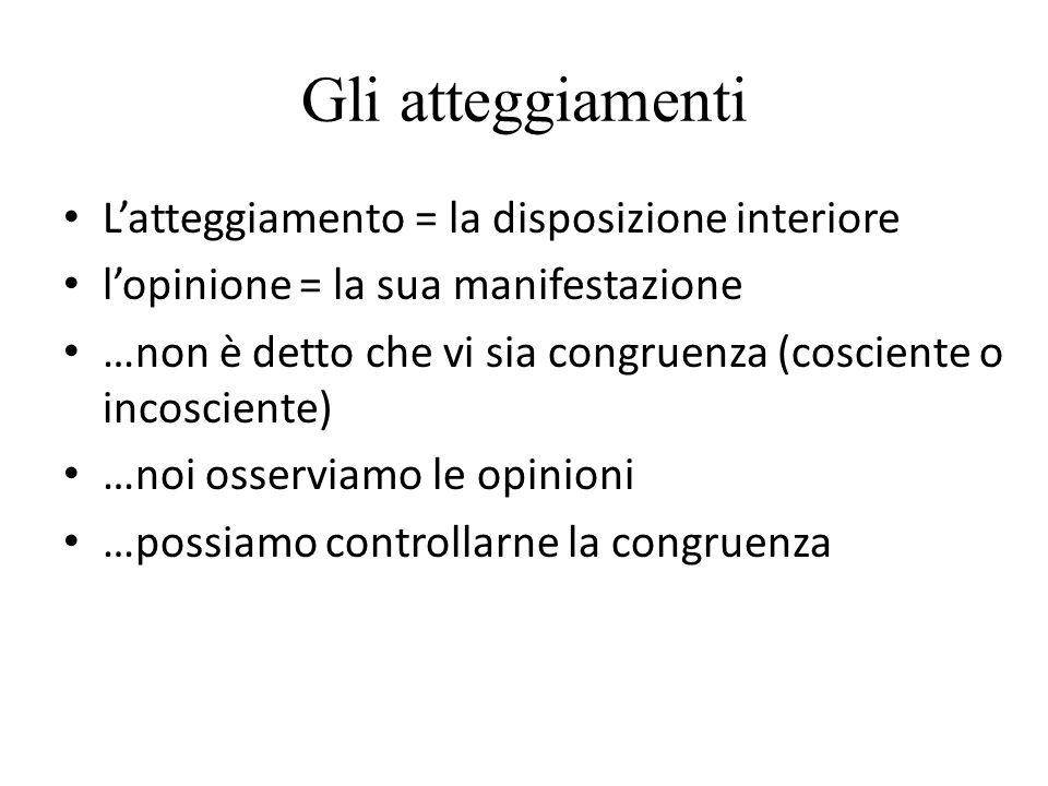 Gli atteggiamenti L'atteggiamento = la disposizione interiore l'opinione = la sua manifestazione …non è detto che vi sia congruenza (cosciente o incos
