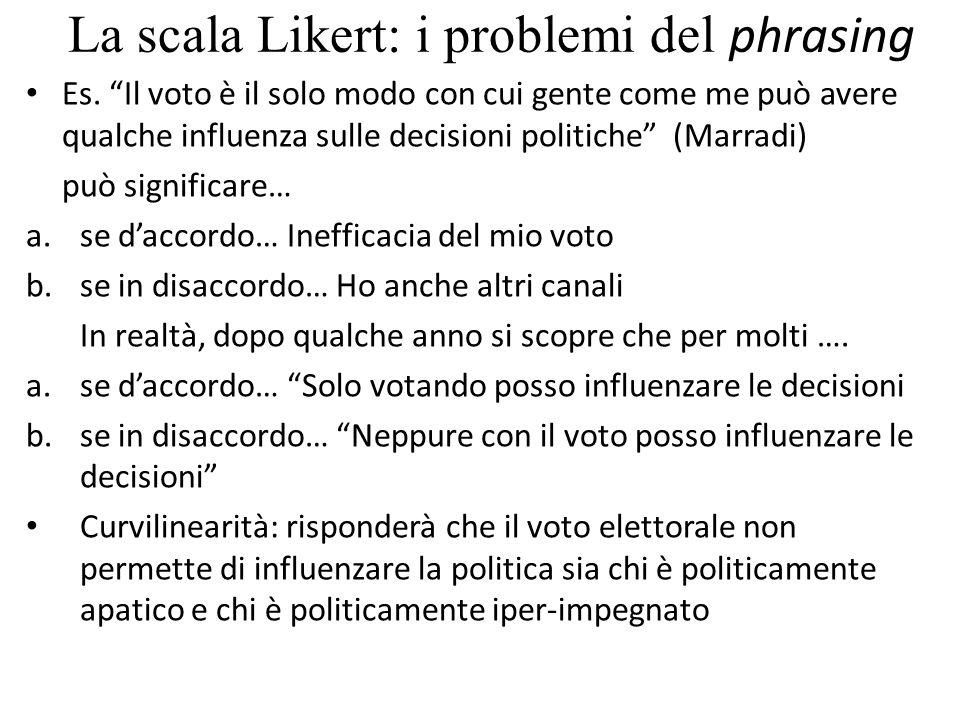 """La scala Likert: i problemi del phrasing Es. """"Il voto è il solo modo con cui gente come me può avere qualche influenza sulle decisioni politiche"""" (Mar"""