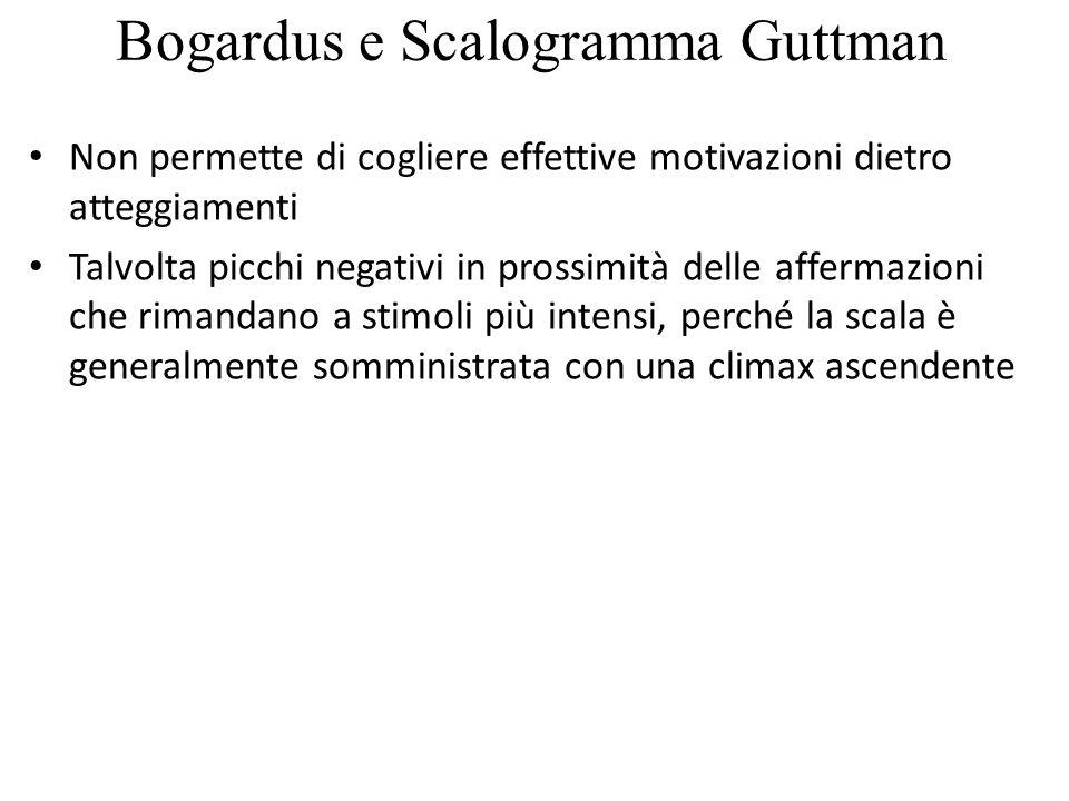 Bogardus e Scalogramma Guttman Non permette di cogliere effettive motivazioni dietro atteggiamenti Talvolta picchi negativi in prossimità delle afferm