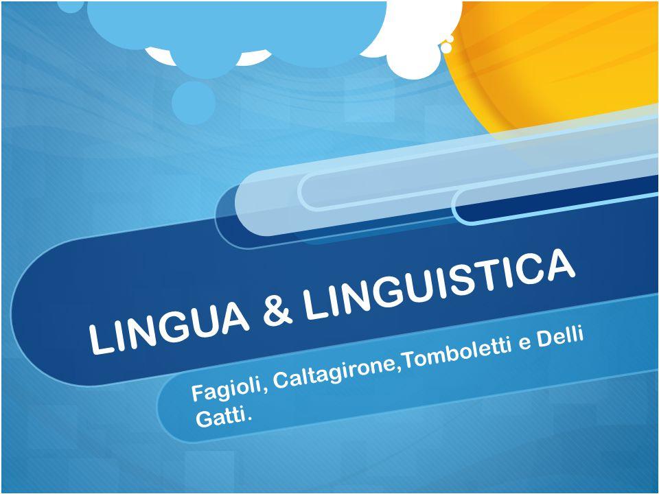 LINGUA & LINGUISTICA Fagioli, Caltagirone,Tomboletti e Delli Gatti.