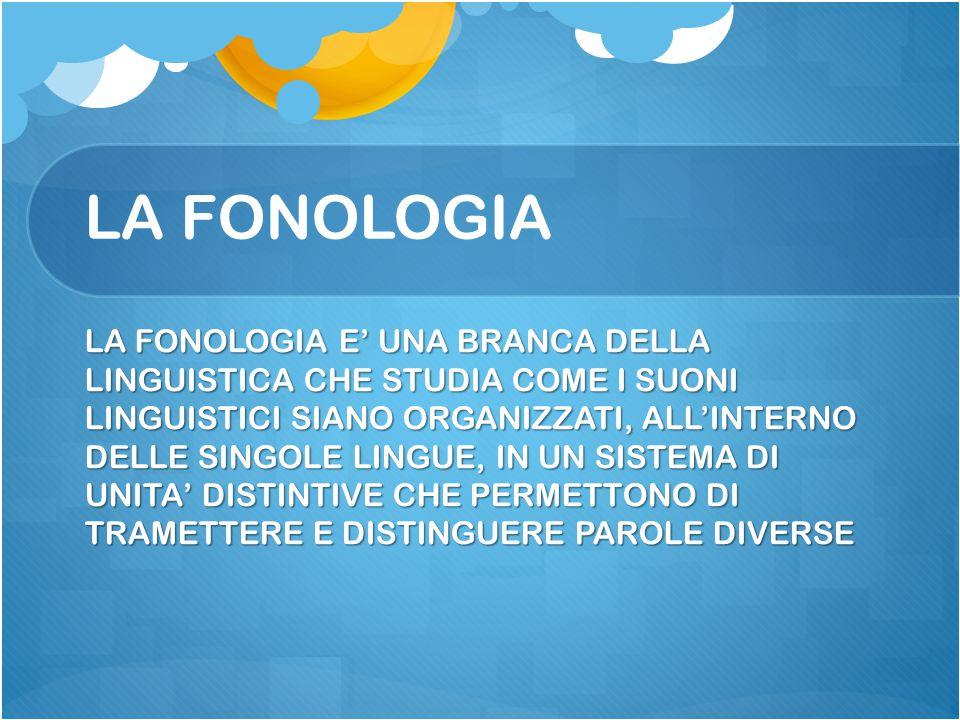 LA FONOLOGIA LA FONOLOGIA E' UNA BRANCA DELLA LINGUISTICA CHE STUDIA COME I SUONI LINGUISTICI SIANO ORGANIZZATI, ALL'INTERNO DELLE SINGOLE LINGUE, IN
