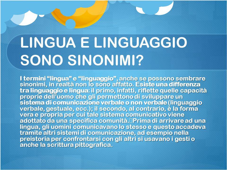 """LINGUA E LINGUAGGIO SONO SINONIMI? I termini """"lingua"""" e """"linguaggio"""", anche se possono sembrare sinonimi, in realtà non lo sono affatto. Esiste una di"""
