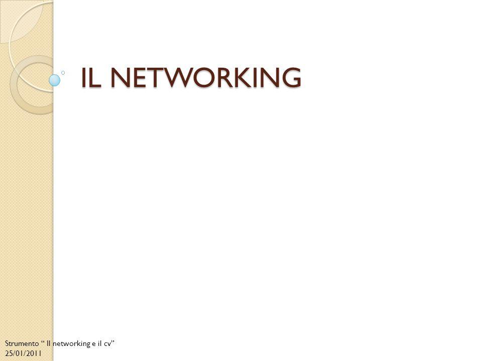 Il networking La rete di contatti (network) è formata da tutte le persone che conosci, a partire dai parenti più prossimi fino ai conoscenti più lontani, e il networking non è altro che l'attività di farsi aiutare da loro, per raccogliere informazioni, cercare opportunità di lavoro e conoscere nuove persone.