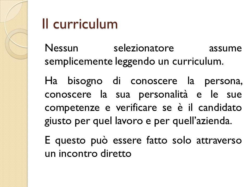 Il curriculum Nessun selezionatore assume semplicemente leggendo un curriculum. Ha bisogno di conoscere la persona, conoscere la sua personalità e le
