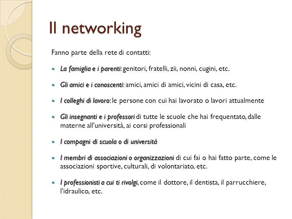 Il networking Fanno parte della rete di contatti: La famiglia e i parenti La famiglia e i parenti: genitori, fratelli, zii, nonni, cugini, etc. Gli am