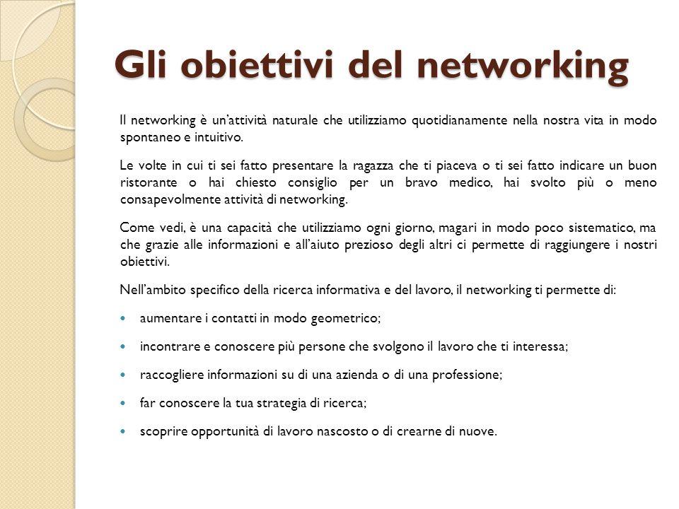 Gli obiettivi del networking Il networking è un'attività naturale che utilizziamo quotidianamente nella nostra vita in modo spontaneo e intuitivo. Le