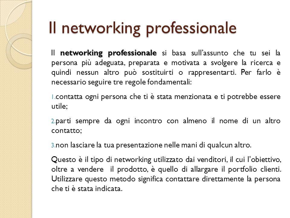 Il networking professionale networking professionale Il networking professionale si basa sull'assunto che tu sei la persona più adeguata, preparata e