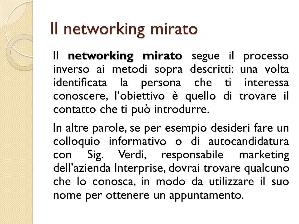 Il networking mirato networking mirato Il networking mirato segue il processo inverso ai metodi sopra descritti: una volta identificata la persona che