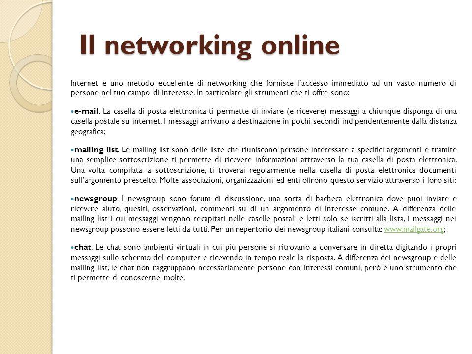 Il networking online Internet è uno metodo eccellente di networking che fornisce l'accesso immediato ad un vasto numero di persone nel tuo campo di in