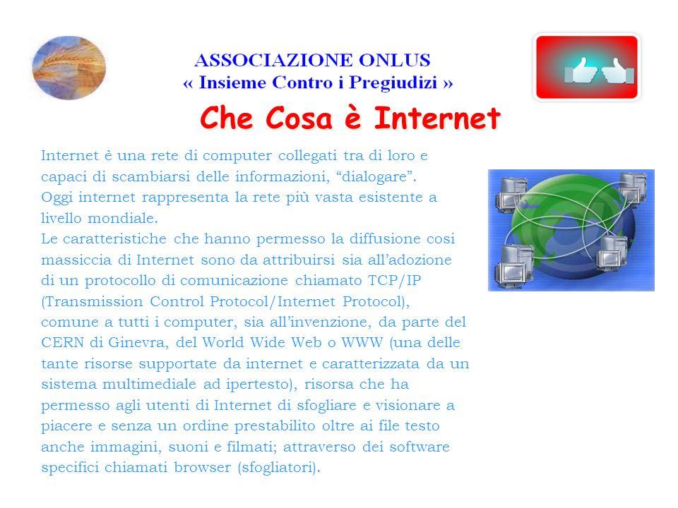Internet è una rete di computer collegati tra di loro e capaci di scambiarsi delle informazioni, dialogare .
