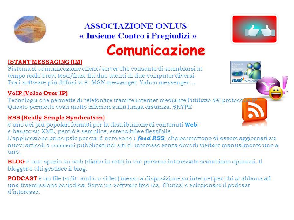 Comunicazione ISTANT MESSAGING (IM) Sistema si comunicazione client/server che consente di scambiarsi in tempo reale brevi testi/frasi fra due utenti di due computer diversi.