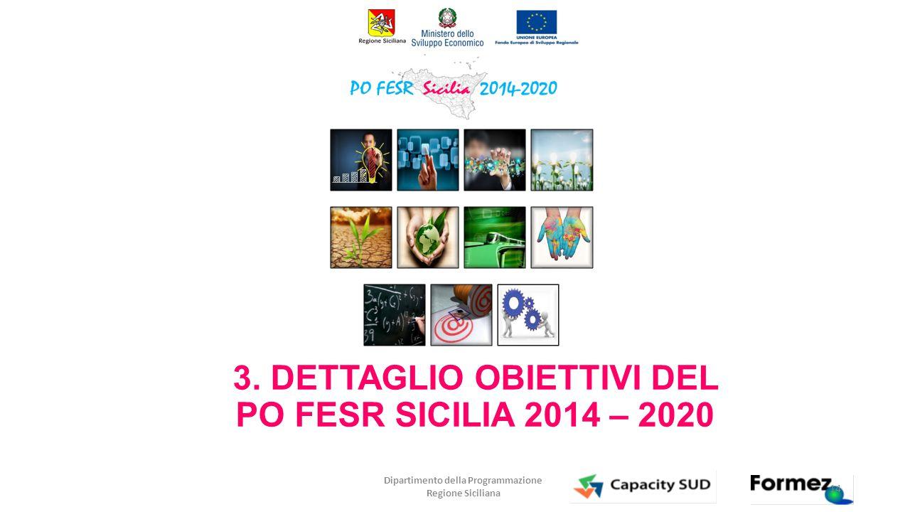 Dipartimento della Programmazione Regione Siciliana 3. DETTAGLIO OBIETTIVI DEL PO FESR SICILIA 2014 – 2020 14